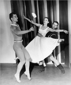 Mr. Cunningham (left) in his debut performance with Martha Graham and Erick Hawkins, all at their prime.