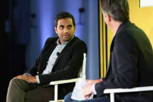 Aziz Ansari (L) and Dan Snierson speak onstage during Entertainment Weekly's first ever 'EW Fest' presented by LG OLED TV on October 24, 2015 in New York City. Photo: Monica Schipper/Getty Images